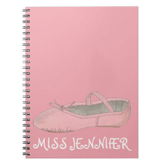 Pink Ballet Shoe Dance Teacher Gift Notebook