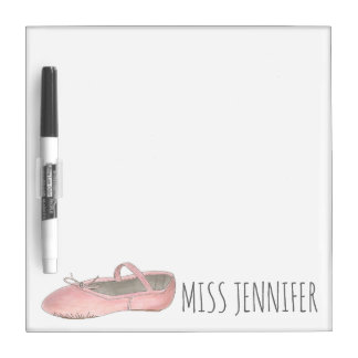 Pink Ballet Shoe Dance Teacher Studio Owner Gift Dry Erase Board