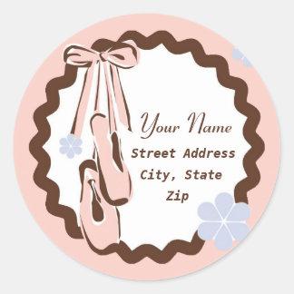 Pink Ballet Shoes Round Sticker