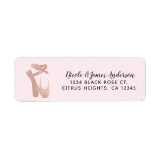Pink Ballet Slippers Ballerina Rose Gold Dance Return Address Label
