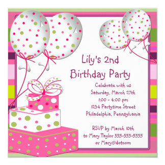 "Pink Ballons Girls 2nd Birthday Party 5.25"" Square Invitation Card"