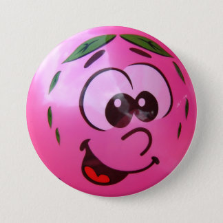Pink balloon face 7.5 cm round badge
