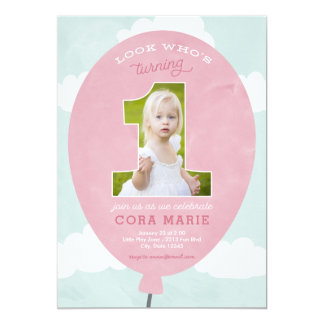 Pink Balloon First Birthday Photo Invitation