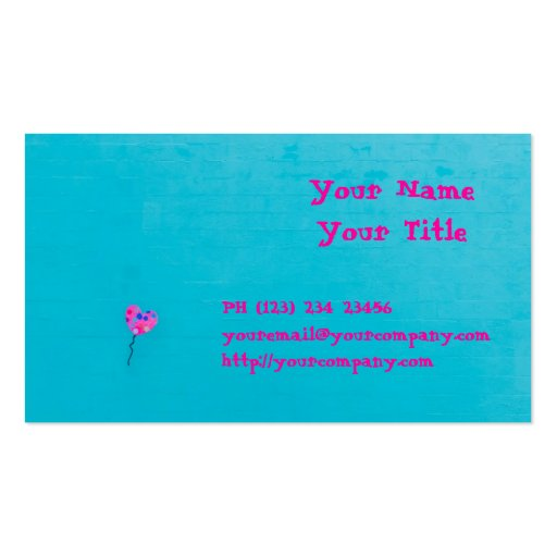 Pink Balloon Freedom on Teal Business Card Templates