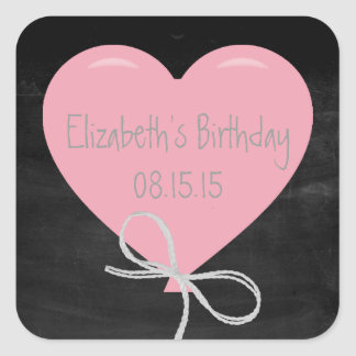 Pink Balloon on a Chalkboard Birthday Square Sticker