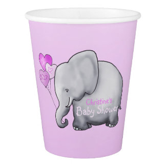 Pink Balloons Elephant Girl Baby Shower Paper Cup
