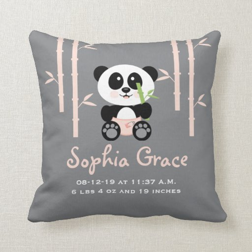 Pink Bamboo Panda Birth Announcement PIllow