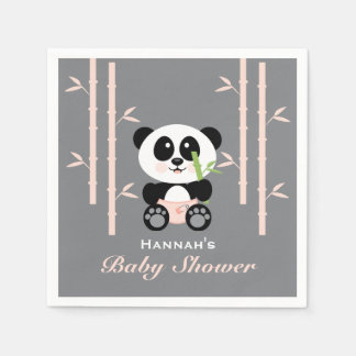Pink Bamboo Panda in Diapers Baby Shower Napkins Disposable Serviette