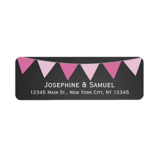 Pink Banner Chalkboard Wedding Address Return Address Label