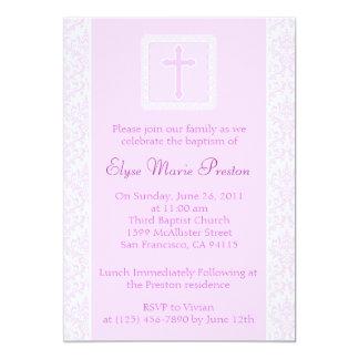 Pink Baptism/Christening Invitation