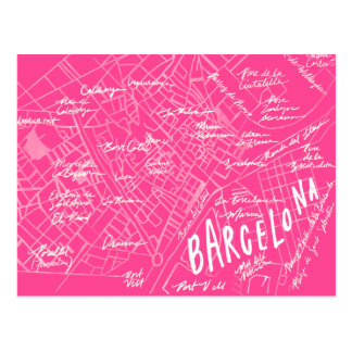 Pink Barcelona Spain Vintage Travel New Postcard