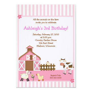 Pink Barn Animal Farm yard Birthday Invitations
