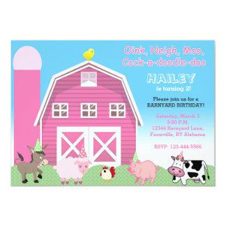Pink barnyard birthday invitation | Farm invite