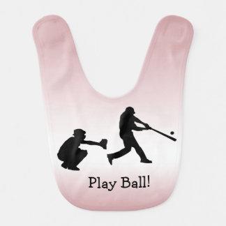 Pink Baseball Sports Baby Bib