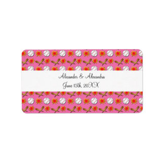Pink baseball wedding favors address label