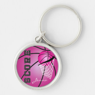 Pink Basketball | DIY Name Silver-Colored Round Key Ring