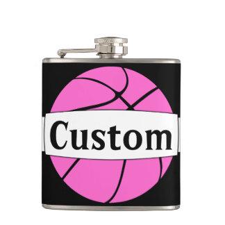 Pink Basketball Player Custom Hip Flask