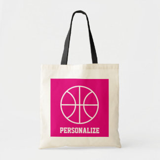 Pink basketball tote bag for girls team and coach