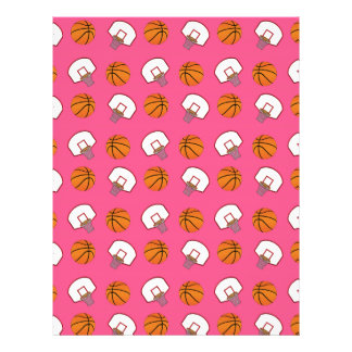 Pink basketballs and nets pattern 21.5 cm x 28 cm flyer