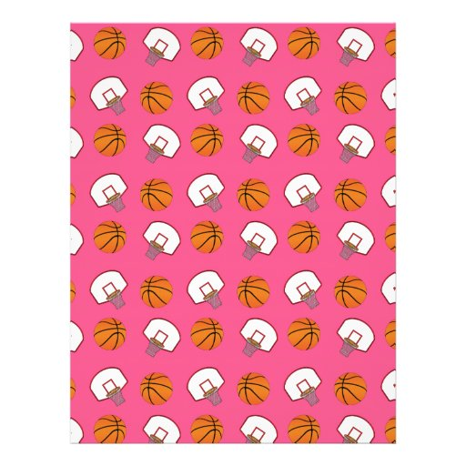 Pink basketballs and nets pattern flyer