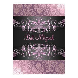 Pink Bat Mitzvah Snow & Damask Birthday Invite