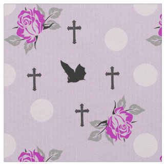 Pink Bats and Roses Goth Fabric By The Yard