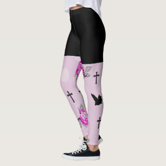 Pink Bats and Roses Goth Leggings