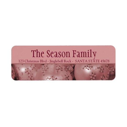 Pink baubles Christmas address Return Address Label