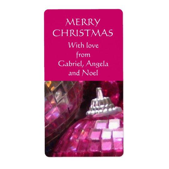 Pink Baubles gift tag label pink portrait