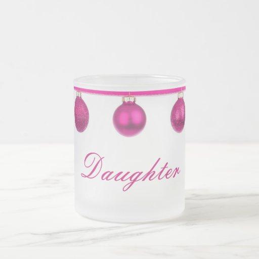 Pink Baubles on Ribbon Daughter Christmas Mug
