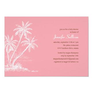pink beach baby shower invitations