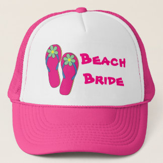 Pink Beach Bride Hat:  Flip Flop Design Trucker Hat