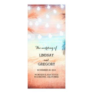 pink beach wedding programs customised rack card