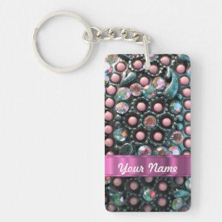Pink beaded perrsonalized Double-Sided rectangular acrylic key ring