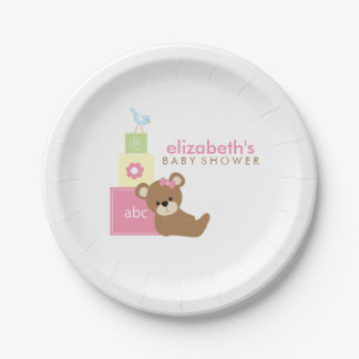 Pink Bear and Toy Blocks Baby Shower Paper Plate
