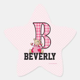 "Pink Bear Monogrammed ""B"" Star Stickers"