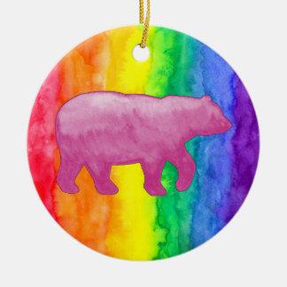 Pink Bear on Rainbow Wash Circle Ornament
