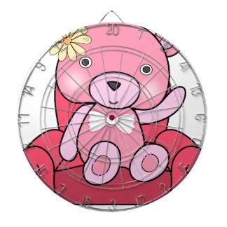 Pink bear on sofa art dartboard