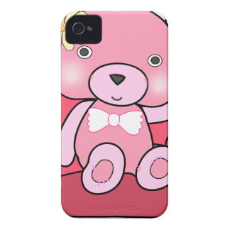 Pink bear on sofa art iPhone 4 cover