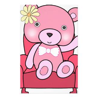 Pink bear on sofa art stationery