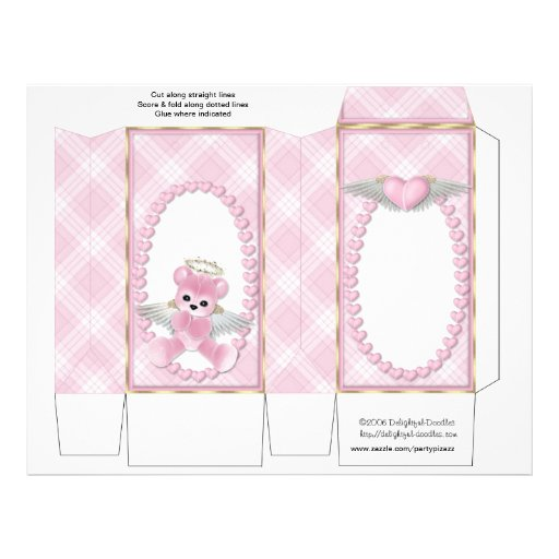 Pink Bear Pinch Box Party Favors.  Baby Shower Full Color Flyer