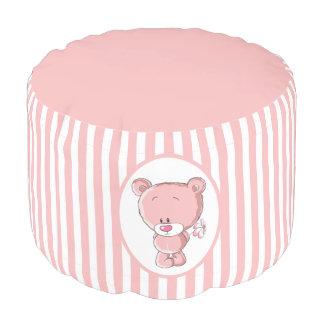 Pink Bear Sturdy Spun Polyester Round Pouf