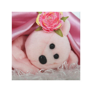 PINK BEAR UNDER A PINK SATIN BLANKET GALLERY WRAP CANVAS