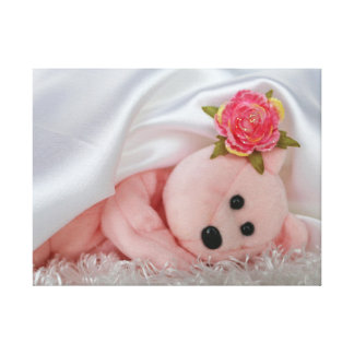 PINK BEAR UNDER A WHITE SATIN BLANKET GALLERY WRAP CANVAS