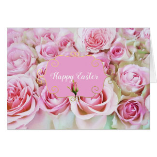 Pink Bed of Roses Easter Card