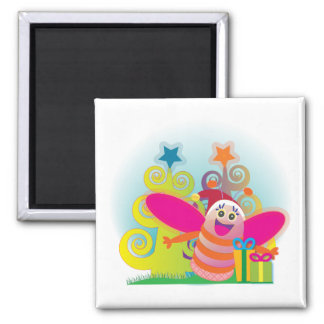 Pink bee and christmas trees square magnet