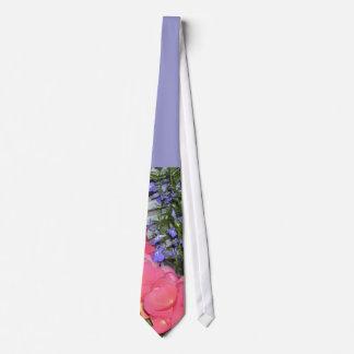 """""""Pink Begonias Blue"""" Wedding Tie"""
