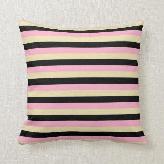 Pink, Beige and Black Stripes Cushion