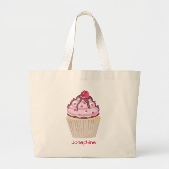 Pink Berry Cupcakes Large Tote Bag
