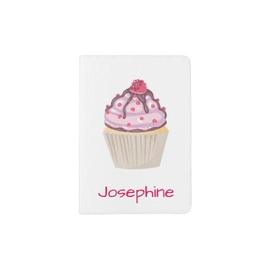 Pink Berry Cupcakes Passport Holder